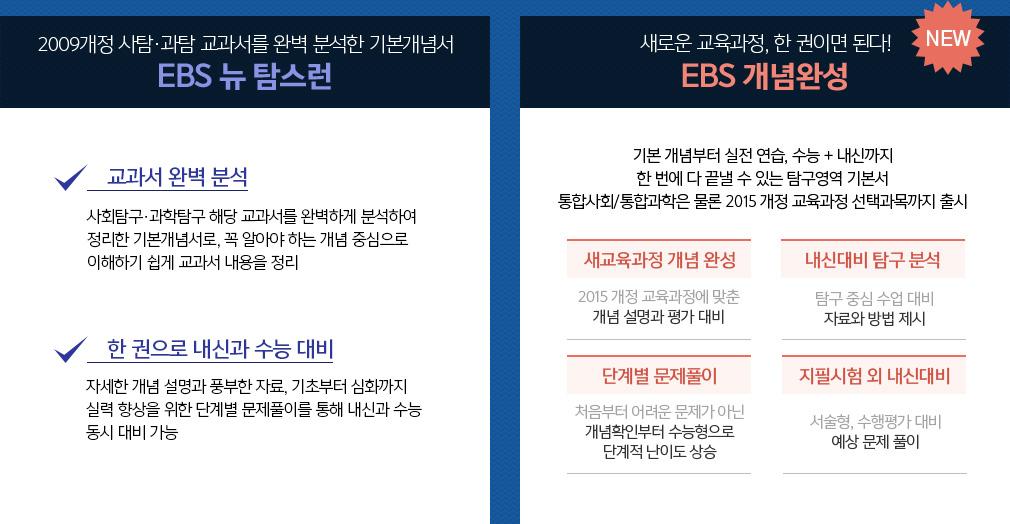 2009개정 사탐·과탐 교과서를 완벽 분석한 기본개념서 EBS 뉴 탐스런,새로운 교육과정, 한 권이면 된다! EBS 개념완성
