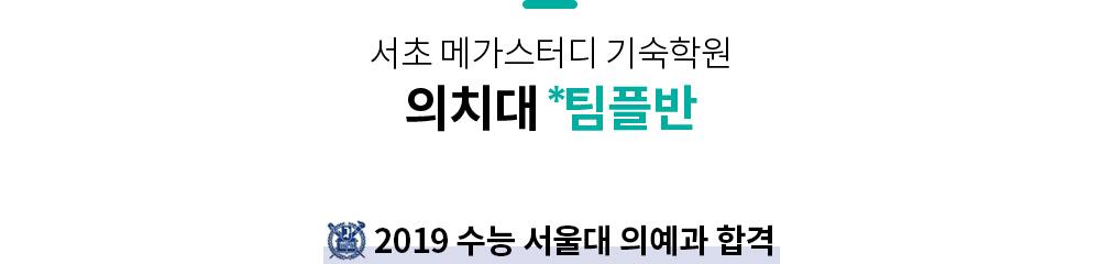 서초 메가스터디 기숙학원 의치대 팀플반 2019 수능 서울대 의예과 합격