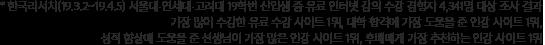 한국리서치(19.3.2~19.4.5) 서울대 연세대 고려대