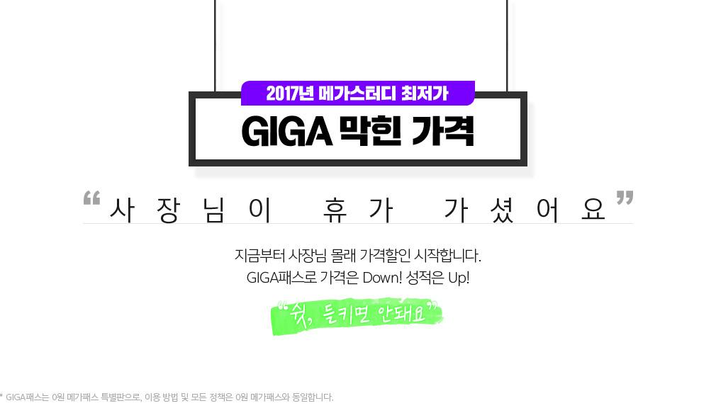 2017년 메가스터디 최저가 GIGA 막힌 가격