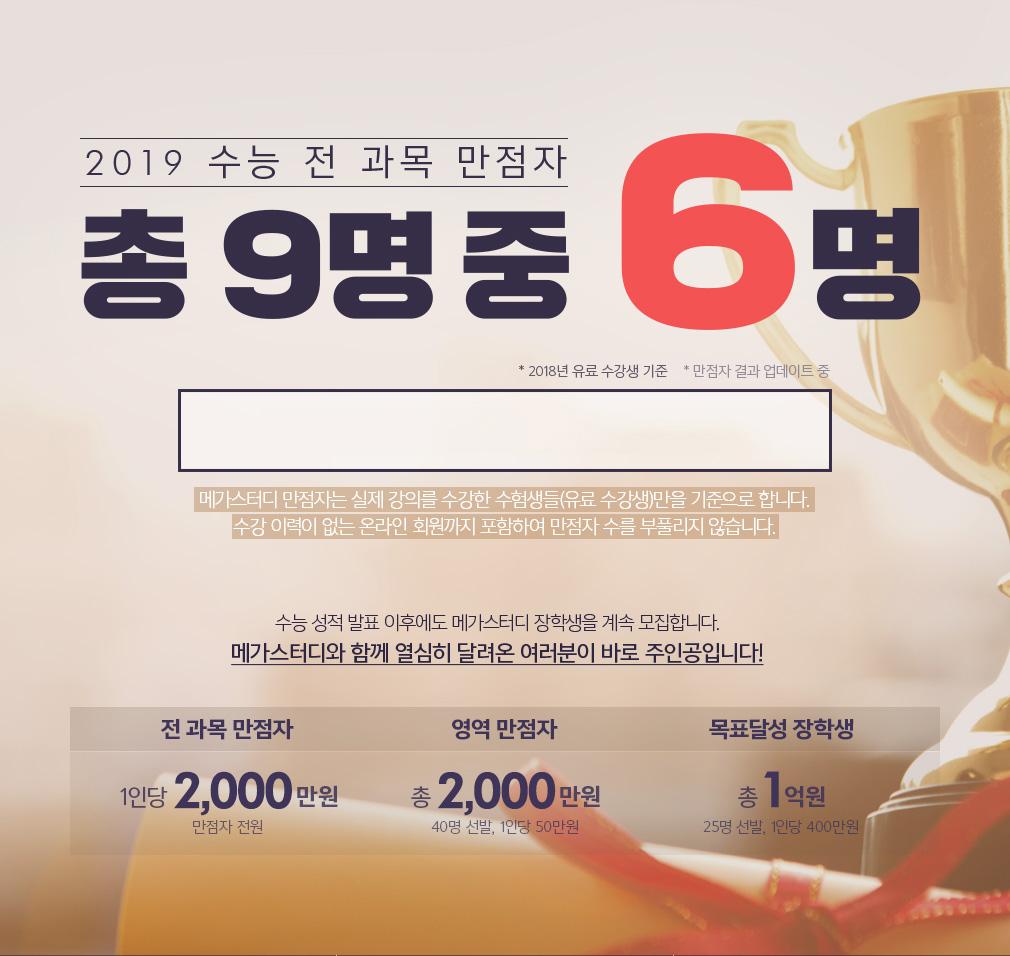 2019 수능 전 과목 만점자 총8명 중 , 5명
