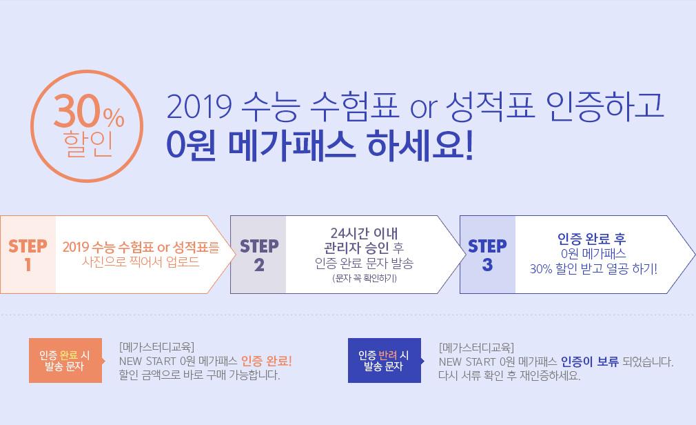 20% 할인 2019 수능 수험표 인증하고 0원 메가패스 하세요!