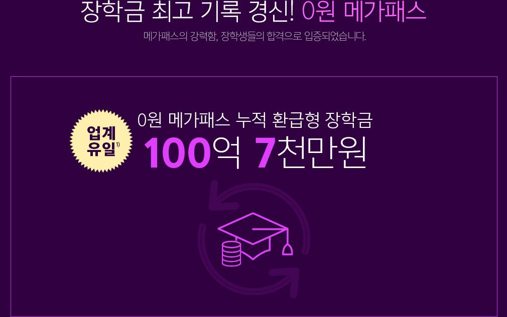 역대 최다 수강생! 0원 메가패스