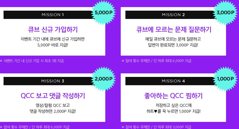 MISSION1 큐브 신규 가입하기 5000P