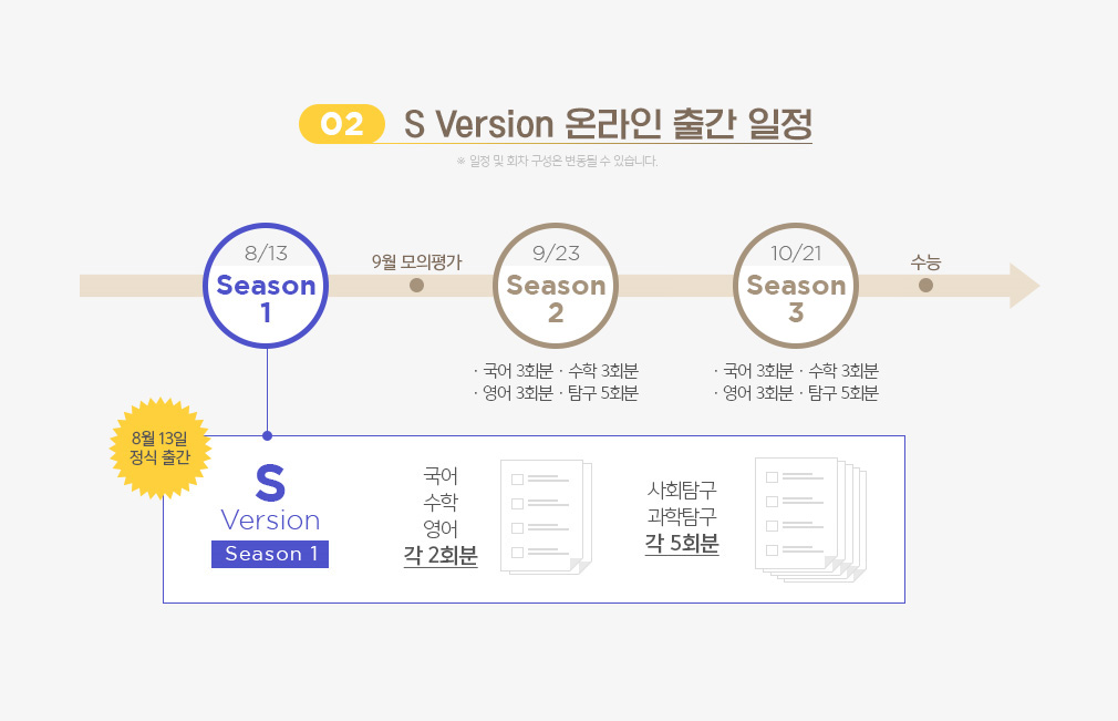 02 S Version 온라인 출간 일정