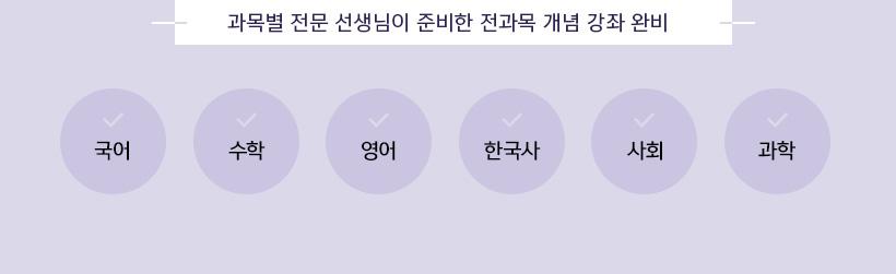 과목별 전문 선생님이 준비한 전과목 개념 강좌 완비