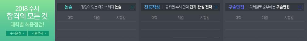 2018 수시 합격의 모든 것 대학별 최종점검!