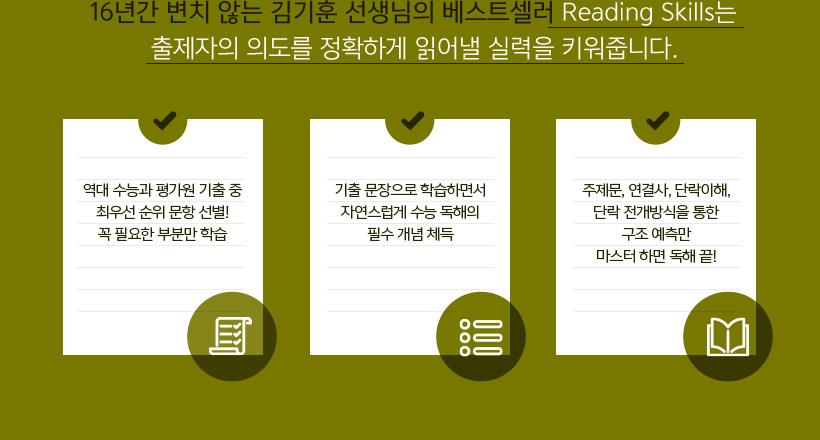16년간 변치 않는 김기훈 선생님의 베스트셀러 Reading Skills는 출제자의 의도를 정확하게 읽어내고, 명중시킬 실력을 키워줍니다.