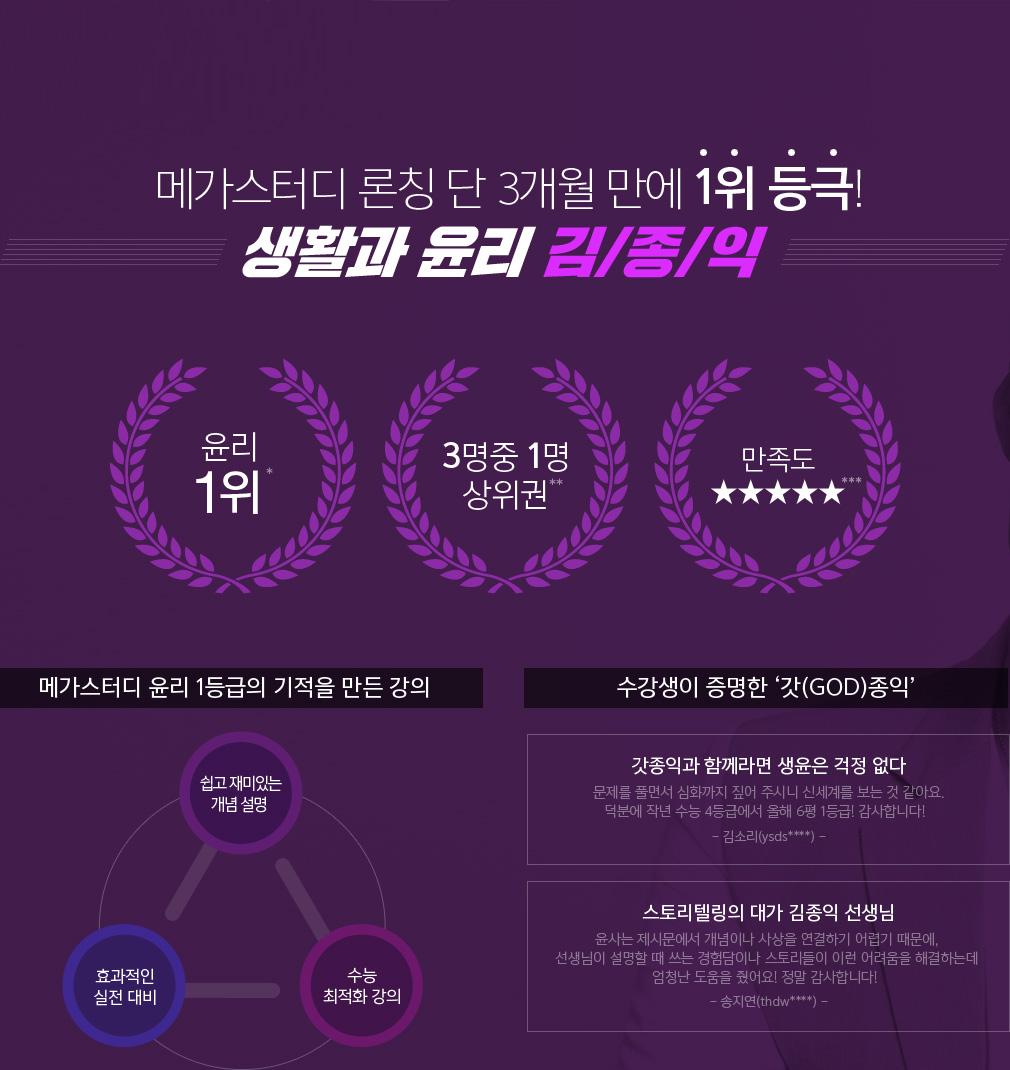 메가스터디 론칭 단 3개월 만에 1위 등극! 생활과 윤리 김종익