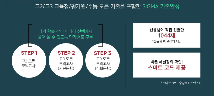 고2/ 고3 교육청/ 평가원/ 수능 모든 기출 포함한 SIGMA 기출완성