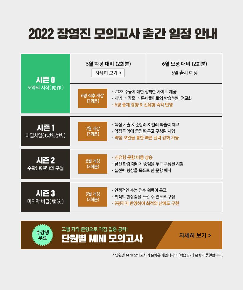2022 장영진 모의고사 출간 일정 안내