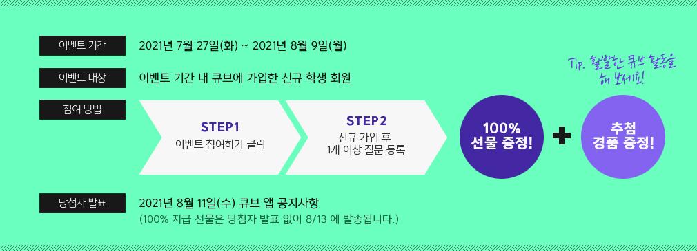 이벤트 기간 2021년 7월 27일(화) ~ 8월 9일(월)