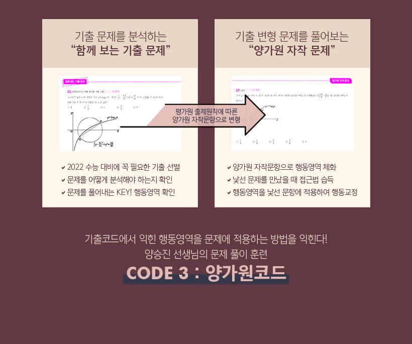 기출코드에서 익힌 행동영역을 문제에 적용하는 방법을 익힌다! 양승진 선생님의 문제 풀이 훈련 CODE 3 : 양가원코드