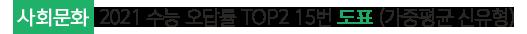사회문화 2021 수능 오답률 TOP2 15번 도표 (가중평균 신유형)